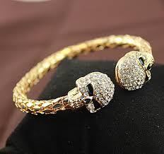 skull bangle bracelet images Vintage gold colou bangle jewelry skull with rhinestone skeleton jpg
