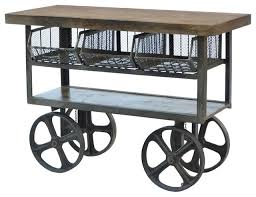 kitchen trolleys and islands industrial wood and iron wheeled cart kitchen island inside remodel
