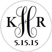 initials monogram hershey kisses stickers monogram