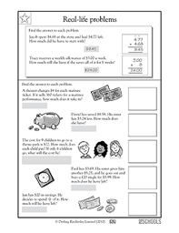 4th grade math worksheets real life problems money 2 greatschools
