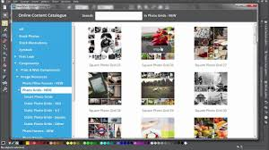 the content catalog and designs gallery in xara designer pro x