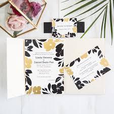 pocket invites black and gold floral foil pressed pocket wedding invitations with