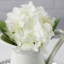 white hydrangea white hydrangea realistic single stem flower wedding silk floral