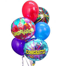 balloon delivery nashville congratulations balloon bouquet 6 mixed balloons an