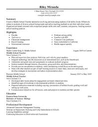 middle management examples middle science teacher resume best resume collection