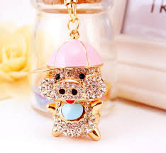 crystal key rings images Xmasmile cute pig style flash crystal key chain the piggy store jpg