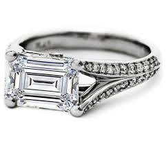 horizontal emerald cut engagement ring engagement ring emerald cut horizontal split band pave engagement