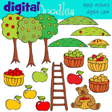 apple orchard digital clip art