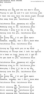 california blue song lyrics with guitar chords for california blue