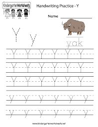kindergarten letter y writing practice worksheet printable école