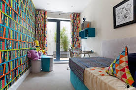 clolorful library wallpaper design for asmall childrens room ideas