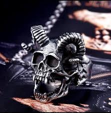 skull gothic rings images Mens titanium stainless steel ring skull goat horns devil punk biker jpg