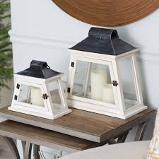 nantucket wood and metal lanterns set of 2 candle holders