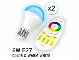 Infrared Led Light Bulb by Applamp Set Of Two Rgbw 6 Watt E27 Led Light Bulbs Remote