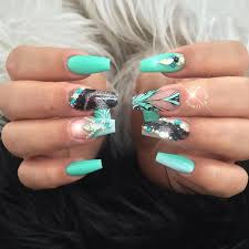 mint green nails designs for bright ladies