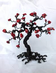 red coral wire wrapped tree of life sculpture mini tree decor