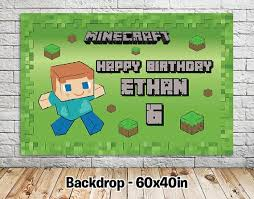 minecraft backdrop minecraft inspired backdrop matteo party