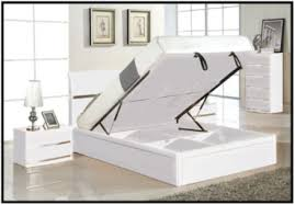 Ottoman White Bed And Carry Beds Madrid Bedroom Set High Gloss