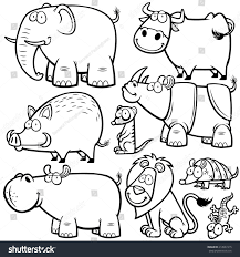 vector illustration wild animals cartoons coloring stock vector