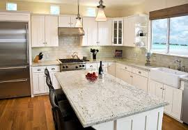 kitchen granite countertop vintage pendant light brick tile