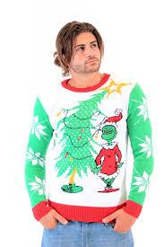 grinch christmas sweater seuss grinch as santa next to tree white sweater