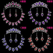 bridal wedding crystal royal blue red rhinestone necklace earrings