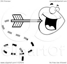 cartoon clipart of a black and white shooting heart cupid arrow