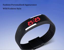 led rubber bracelet images Kilimall led watch red subtitles date rubber strap rectangle dial jpg