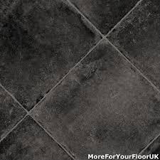 black tile vinyl flooring roll feltback lino 4m ebay