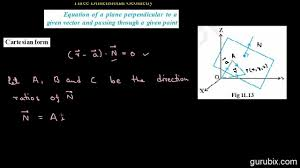 hindi equation of a plane perpendicular to a vector cartesian form ch 11 cbse 12th math