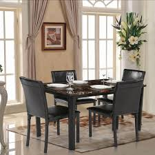 table de cuisine en marbre ikayaa 5pcs set table chaise en imitation marbre cuisine salle à