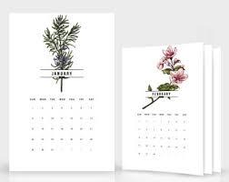 botanical calendars 2018 cards and calendars etsy