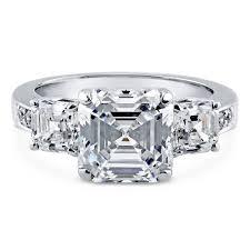 asscher cut diamond engagement rings sterling silver asscher cubic zirconia cz 3 stone engagement ring