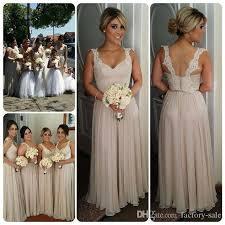 2016 straps sheath chiffon long lace bridesmaid dresses