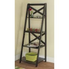 Tiered Bookshelf Furniture Simple Black Wood Ladder Bookshelf For Interior Design