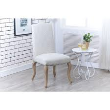 linon home decor cabriolet beige polyester side chair set of 2