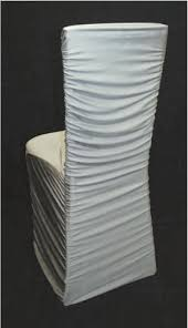 Paper Chair Covers Silver Ruched Chair Cover Over Chiavari Chair Specialty Linen Rental