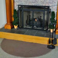 Wood Stove Rugs 5 U0027 Half Round Brown Guardian Fireplace Rug Northline Express
