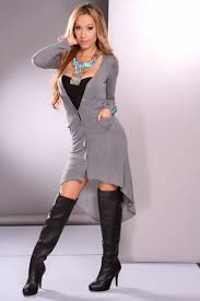 heather grey long sleeve front pockets high low hem sweater dress