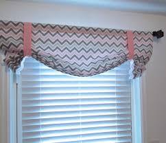 nursery pink grey curtain chevron tie up valance gray white zig