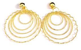 hoop clip on earrings clip on earrings gold tone layered hoop earrings