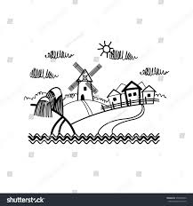 small village view sketch simple line stock vector 376349356
