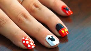 nail art at home easy u0026 cool mickey mouse design in steps youtube