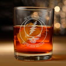 grateful dead inspired etched rocks glass with brown eyed