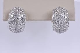 gold diamond earrings e76239 18k white gold pave diamond earrings omega clip details