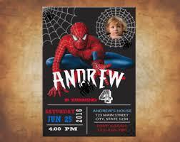 spiderman invitation etsy