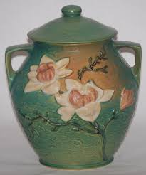 roseville pottery magnolia green cookie jar for sale antiques