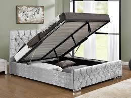Grey Fabric Ottoman Bed Arya Double Silver Crushed Velvet Glitz Fabric Ottoman Bed Frame