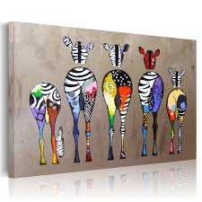 uniquebella multicolored zebras background abstract oil painting