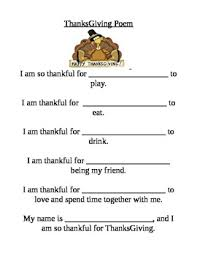 pre k fill in the blanks thanksgiving poem by brownbearsteacher tpt